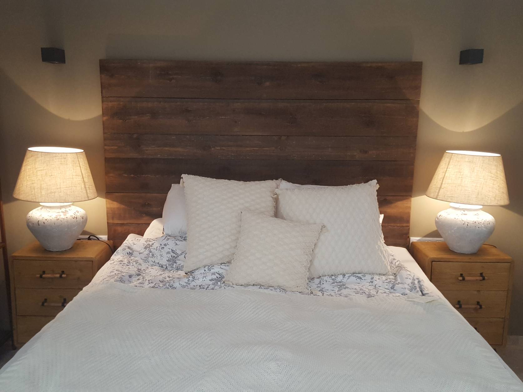 handmade headboard dark brown wood extra high