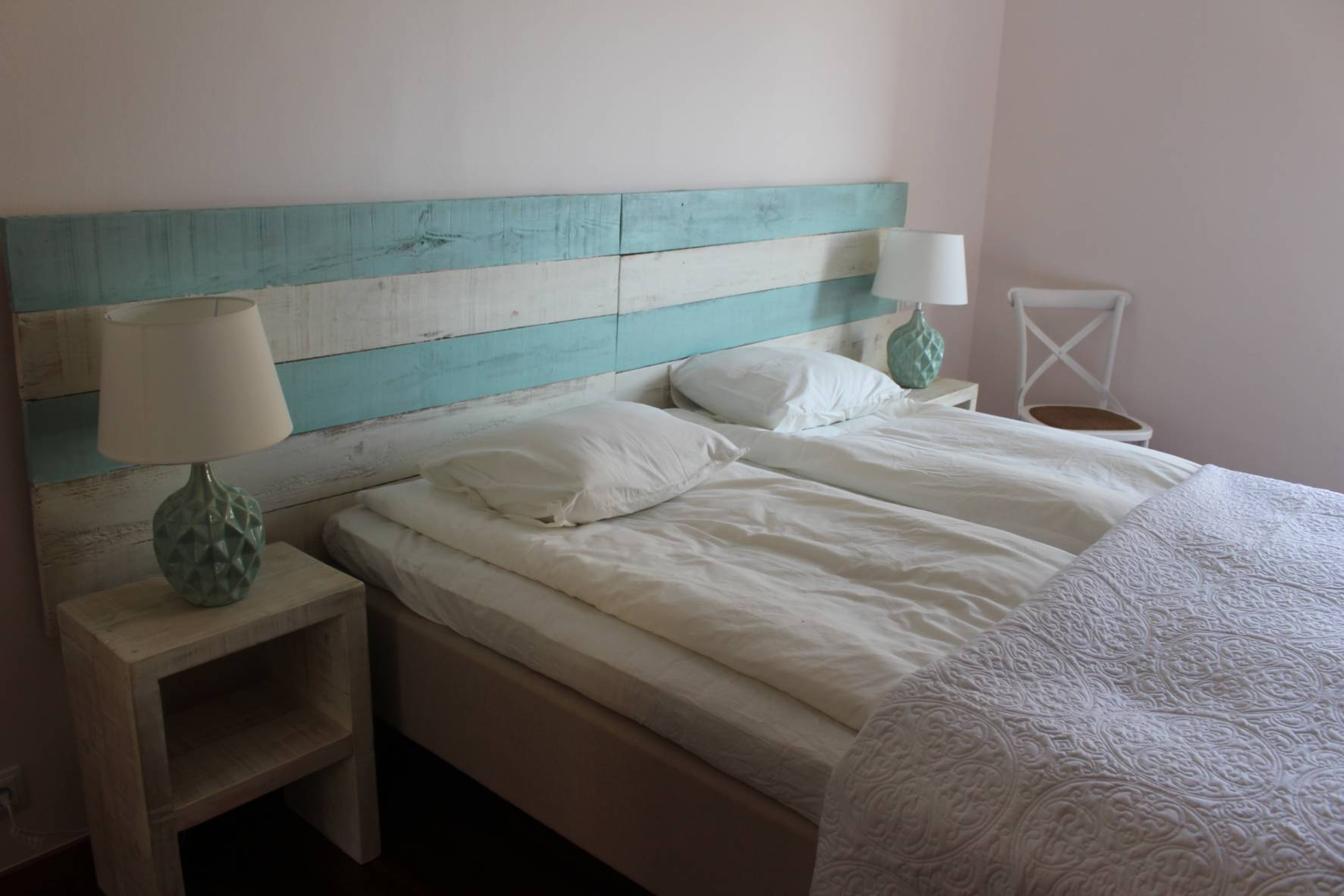handmade headboard turquoise and white
